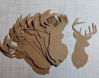Die Cut Deer Heads/Buck. Made from KRAFT Brown.    #MAC-16