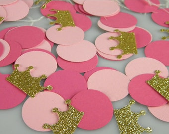 Pink and Gold Crown Party / First Birthday Party Decoration Confetti / Little Princess Party / Tiara Confetti / Gold Glitter Crowns