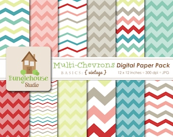 Multi Color Chevron Digital Paper Pack Instant Download Digital Scrapbooking Basics Vintage Style