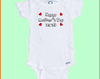 Happy Mother's Day 2018 Funny  Custom Printed Baby Onesie