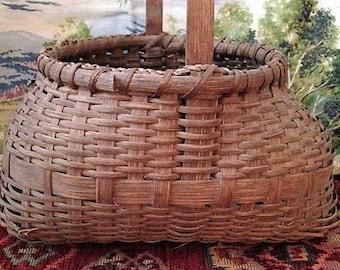 Vintage Split Wood Basket with Wood Handle