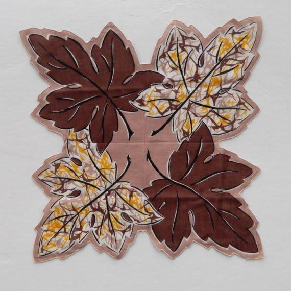 Vintage Large Leaf Hanky Handkerchief
