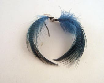 Feather Earrings peacock blue