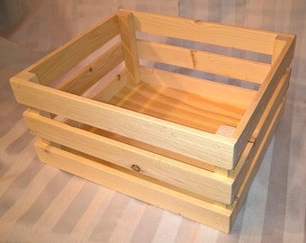 Wooden Storage Crate   Unfinished Wood Box   Stackable Display Bin