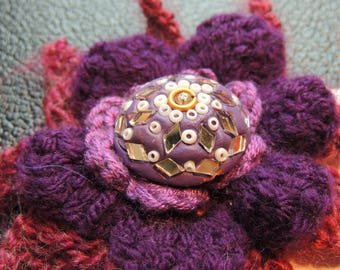 Large Purple  & Red Flower Brooch  Corsage Pin
