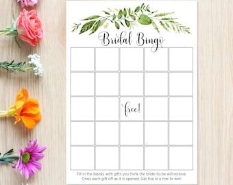 BRIDAL Shower BINGO Game, Greenery, Woodland Green Wreath, Green Laurels, Boho Nature, Gift Guessing Game, Wedding Shower, Icebreaker 80J