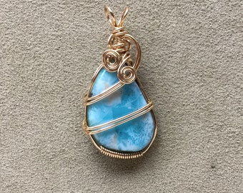 Larimar 14kt Gold Filled Wire Wrapped Pendant, Larimar crystal jewelry, Larimar wrapped pendant