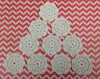 Crochet Flower Appliques - Antique White - set of 10 (#01-11B)