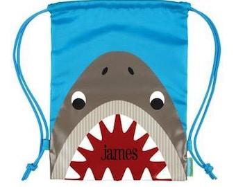 Personalized Drawstring StephenJoseph Backpack Shark Backpack Cinch Backpack