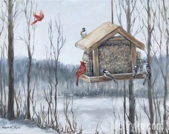 Original Oil Winter Birds at Bird Feeder, art on canvas, snowy forest, birdhouse, cardinals, chickadees and woodpecker in northern landscape