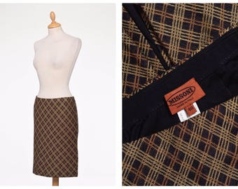 MISSONI vintage 1970s brown argyle print knitted skirt - size S