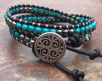 Leather Wrap Bracelets, Genuine Turquoise, Beaded Bracelet,  Boho Chic, Southwestern style