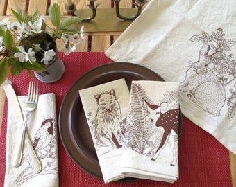 Woodland animals screen printed cotton napkins