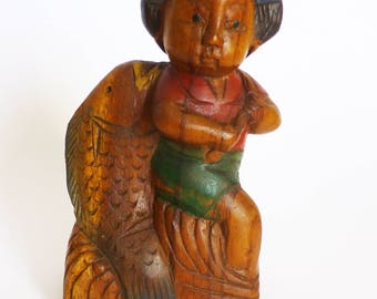 Japanese Girl With Fish Wood Carving