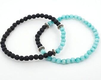 Raw Stone Bracelet  Couples bracelet Her and his bracelet set Essential Oil Diffuser Bracelet Black Lava Stone Blue Gemstone Thin Bracelet