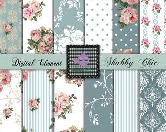 Digital Scrapbook Paper, Digital Paper, Pink Shabby Rose Papers, Digital Background Paper, Teal and Pink Shabby Rose Paper. P95.DA