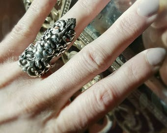 Satyr Armor Ring, Sterling Silver Statement nail claw, Made to your size