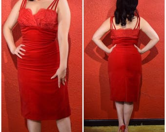 1950s Red Velvet and Lace Wiggle Dress