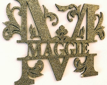 Wooden personalised wall sign plaque. house sign, Personalised, bedroom sign, wall sign, glitter decor, children's bedroom,