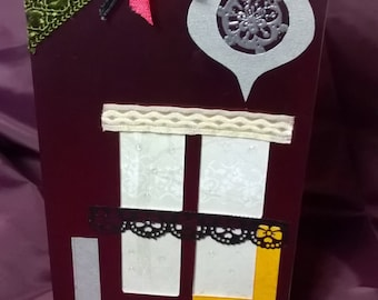 OOAK Christmas card, hand made, envelope is included, size 110x220 mm, Scrapbooking.