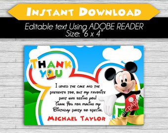 Thank you Card Mickey Mouse Clubhouse - Editable Text, Instant download, PDF