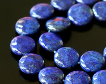 14mm Coin Lapis Lazuli Coin Beads - Jewelry Making Supplies -   Gemstone Coin Beads -  Choose Amount