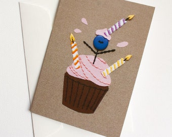 Happy Birthday Cupcake Card with Mr. Buttonman
