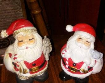 Vintage coin banks, pair of banks, rare seasonal banks, coin bank collectors, great gifts for 2, Santa Claus, ceramic banks