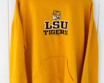 Vintage LSU TIGERS Gold Hoodie Purple & Gold Mike The Tiger Size XL