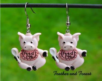 Pig Earrings Pig Jewelry Feed Me Earrings Pig Out Earrings Picnic Earrings