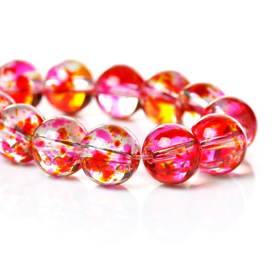 Set of 10 glass beads - pink transparent with logo patch - 10 mm