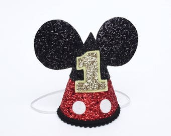 Mickey Mouse Birthday Hat | Disney birthday party hat | smash cake | glitter hat | Mickey Mouse ears | Baby First birthday