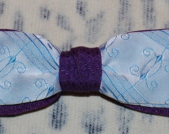 Vintage 1950's Men's Clip On Bow Tie Purple Blue Unique Design Rockabilly Swing