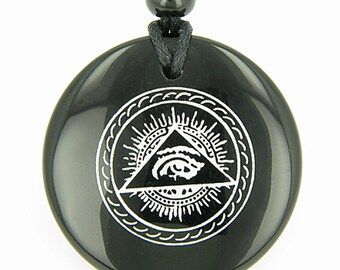 All Seeing Third Eye Amulet Black Agate Pendant Necklace