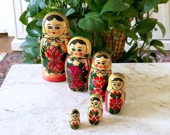 Jahrgang bunten russischen Matroschka Puppen • Boho Dekor • Böhmische