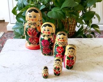Vintage Colorful Russian Nesting Dolls • Boho decor • Bohemian