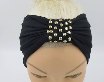 Turban Headband Black Headband Gold Metal Studded beaded Black Headband Black Headwrap Festive Headband for party,evening,special occasions