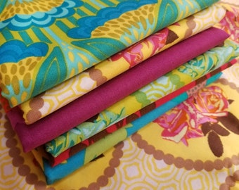 Garden Party by Anna Maria Horner for Freespirit Fabric Unwashed Quilting Cotton 6 Half Yards, Rare, HTF, OOP 6 Different Prints