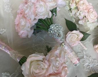 Blush Bridal Bouquet - Blush Rose Bouquet - Pink Bouquet - Blush Bouquet - Pink Bridal Bouquet - Blush Real Touch Bouquet - Blush Bouquets