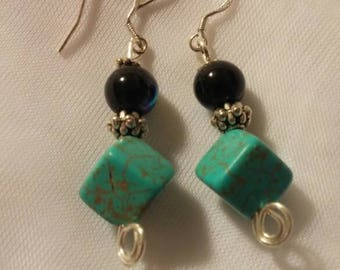 Wire-wrapped Turquoise Earrings, Chakra Gemstone