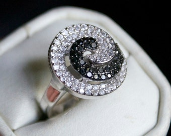 One of a kind CZ Silver Ring