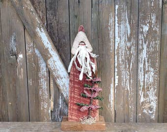 Primitive Santa, Wood Santa, Christmas decor, Primitive wood Santa, Wooden Santa, Primitive Holiday Decor, Primitives, Country Primitive