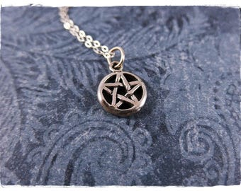 Tiny Pentagram Necklace - Sterling Silver Pentagram Charm on a Delicate Sterling Silver Cable Chain or Charm Only