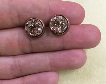 10mm faux druzy earrings in bronze with antique bronze setting