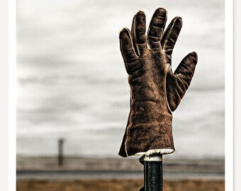Hello Glove - Rustic Western Photograph - American West Ranch Art Print - Monochromatic Photography - Rustic Decor