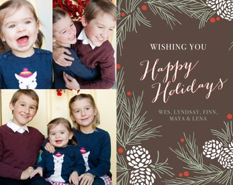 Happy Holiday Pinecone Printable 5x7 Christmas Card with Photos