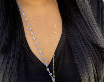 Blue Arrowhead Gold Fill Necklace, Rosary inspired necklace, Layering Necklace, Gypsy jewelry, Boho Inspired, Boho Chic, Dainty Necklace