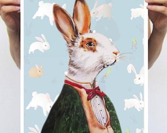 Rabbit Print, Rabbit Art Print, Rabbit Bunny Print, Rabbit Art, Bunny Print, Rabbit Wall Art, 11x17, Boys, Blue, Wall Decor, Rabbit Artwork