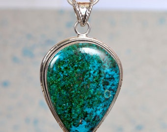 Natural Green and Blue Chrysocolla Gemstone 925 Sterling Silver Pendant, Chrysocolla Gemstone Necklace, Chrysocolla Jewelry for her