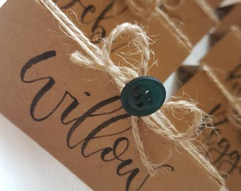 Custom Personalised Hand Written/Handlettered/ Modern Calligraphy Button Bow Rustic Kraft Brown Card Twine Party Wedding Table Place Names